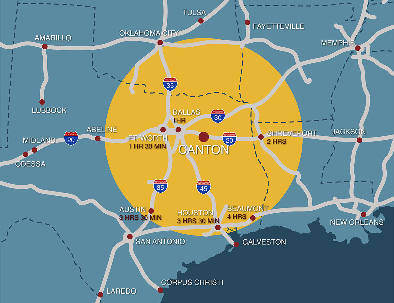 Canton Texas Region Map